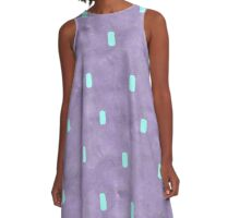 Purple Cute Simple Turquoise Pattern A-Line Dress