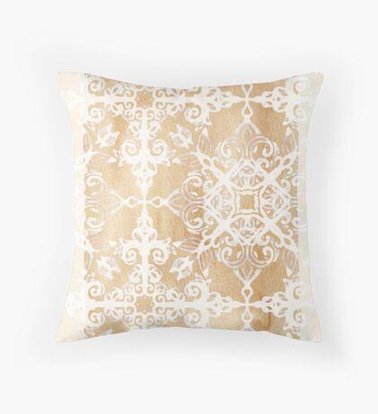 White Doodle Pattern on Sepia Ink Throw Pillow