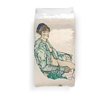 Egon Schiele - Sitting Semi Nude with Blue Hairband (1914)  Duvet Cover