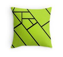 Green Lines Black Throw Pillow