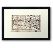 0276 Railroad Maps Map of the Hannibal St Joseph Railroad and its connections published by the American Railway Review New Framed Print