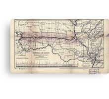 0276 Railroad Maps Map of the Hannibal St Joseph Railroad and its connections published by the American Railway Review New Canvas Print