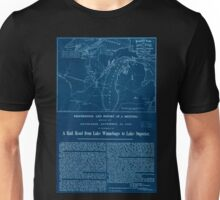 0061 Railroad Maps Proposed route for a rail road from Copper Harbor to Fond Du Lac Inverted Unisex T-Shirt