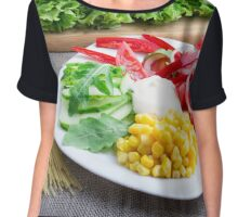 Healthy vegetarian dish of fresh vegetables on a gray textured fabric Chiffon Top