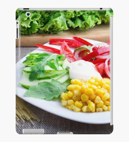 Healthy vegetarian dish of fresh vegetables on a gray textured fabric iPad Case/Skin