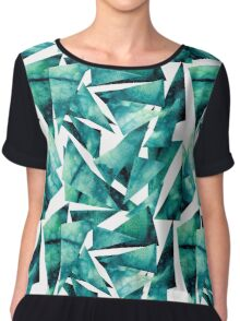 Watercolor Grunge Blue and Green Triangles Chiffon Top