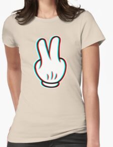 Mickey Mouse Peace Glitch Womens Fitted T-Shirt
