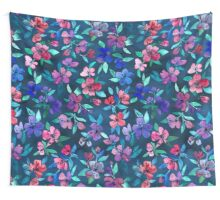 Southern Summer Floral - navy + colors Wall Tapestry