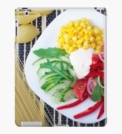 Top view of the vegetarian dish of raw vegetables and mozzarella  iPad Case/Skin