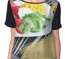 Closeup view of a vegetarian dish of raw vegetables Chiffon Top