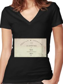0192 Railroad Maps Profile location of the A W Pt R R of Ga surveyed drawn by Cha's Mahon C E Women's Fitted V-Neck T-Shirt