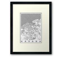Havana Map Line Framed Print