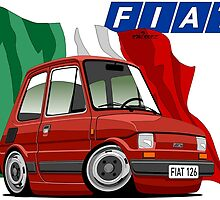 Fiat 126 caricature red by car2oonz