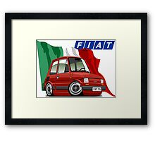 Fiat 126 caricature red Framed Print