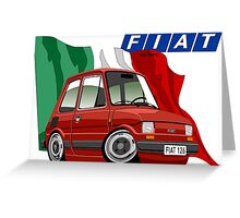 Fiat 126 caricature red Greeting Card