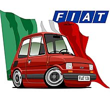 Fiat 126 caricature red Photographic Print