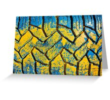 Colorful painted tire texture in detail - Grunge style multicolored background Greeting Card