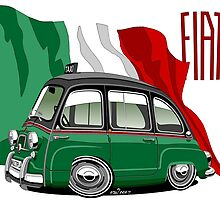 Fiat Multipla 600 caricature taxi by car2oonz