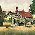 A digital painting of theNewport Arch, Lincoln, England 3rd century CE by Dennis Melling