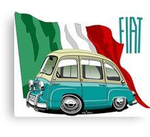 Fiat Multipla 600 caricature turquoise Canvas Print