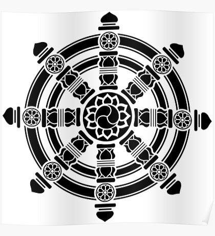 Dharma Wheel of Fortune, Buddhism, Auspicious Symbol Poster