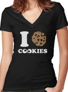 I Love Cookies  Women's Fitted V-Neck T-Shirt