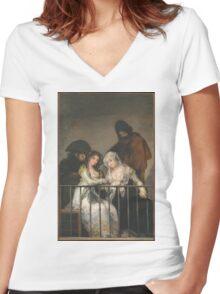 Goya - Majas Au Balcon Women's Fitted V-Neck T-Shirt