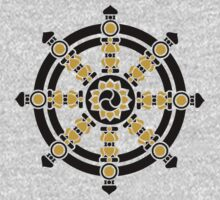 Dharma Wheel of Fortune, Buddhism, Auspicious Symbol One Piece - Long Sleeve
