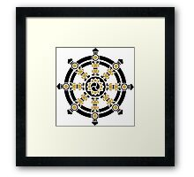 Dharma Wheel of Fortune, Buddhism, Auspicious Symbol Framed Print