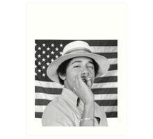 Young Obama smoking with American Flag Art Print