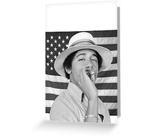 Young Obama smoking with American Flag Greeting Card