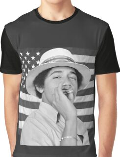 Young Obama smoking with American Flag Graphic T-Shirt