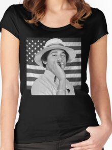Young Obama smoking with American Flag Women's Fitted Scoop T-Shirt