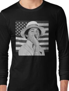 Young Obama smoking with American Flag Long Sleeve T-Shirt