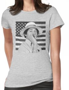 Young Obama smoking with American Flag Womens Fitted T-Shirt