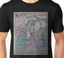 0270 Railroad Maps Map showing the Grand Rapids Indiana Railroad and its Unisex T-Shirt