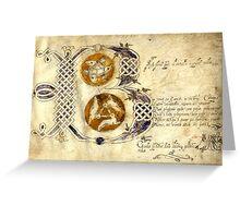 Illuminated 18th century manuscript, Sheffield, Yorkshire Greeting Card