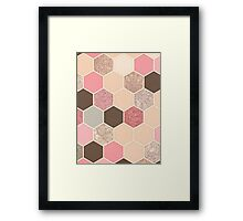 Caramel, Cocoa, Strawberry & Cream Hexagon & Doodle Pattern Framed Print