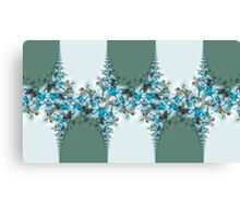 Blue green and white floral patterns Canvas Print