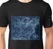 0348 Railroad Maps A correct map of the Pennsylvania Central Rail Road with its branches connections the shortest quickest route between the east Inverted Unisex T-Shirt
