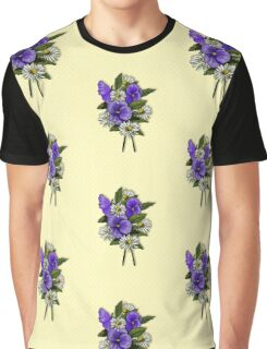 Purple Pansies and Daisies on Dotted Yellow Background, Art Graphic T-Shirt