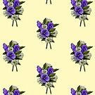 Purple Pansies and Daisies on Dotted Yellow Background, Art by Joyce Geleynse