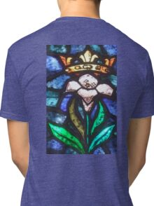 Lilly, Crown, Stained Glass, Window, Tossa del Mar, Spain, Spanish Tri-blend T-Shirt