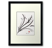 """My Dear Friend""  Original ink and wash ladybug bamboo painting/drawing Framed Print"