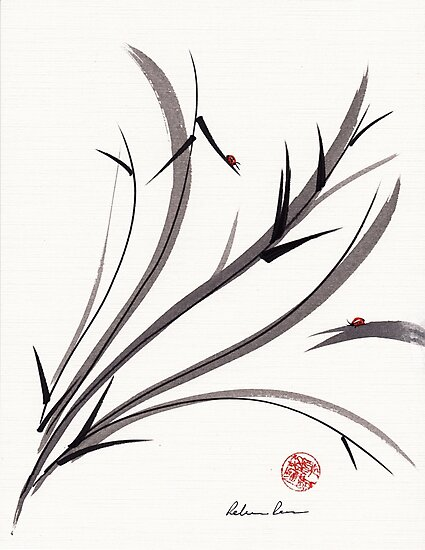 """""""My Dear Friend""""  Original ink and wash ladybug bamboo painting/drawing by Rebecca Rees"""