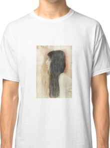 Gustav Klimt - Girl With Long Hair With A Sketch For Nude Veritas 1899 Classic T-Shirt