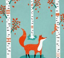 Fox - Squirrel - Birch trees - Fall Sticker