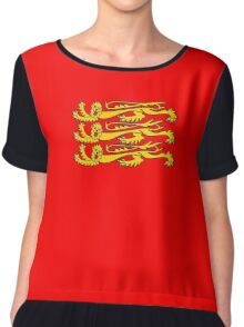 Three Lions, Royal Banner of England, England, 3 Lions, English, British, Britain, UK, RED Chiffon Top