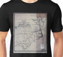 0381 Railroad Maps Map of the Seaboard Roanoke Railroad from Portsmouth Va to Weldon N C showing its connection with railroad steamboat Unisex T-Shirt