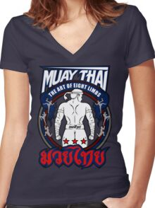 muay thai fighter strong back thailand martial art Women's Fitted V-Neck T-Shirt